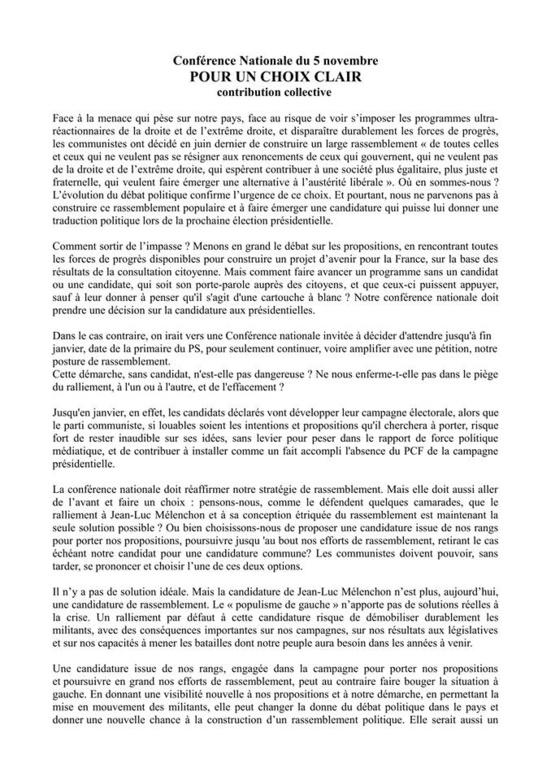 """Présidentielles/Conférence nationale du PCF du 5 novembre : """"Pour un choix clair"""""""