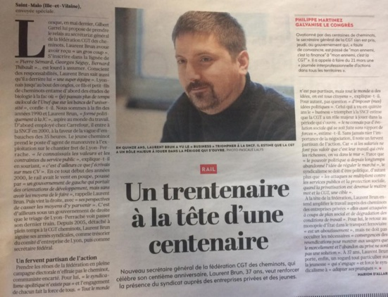 Laurent Brun, nouveau Secrétaire général de la CGT Cheminot
