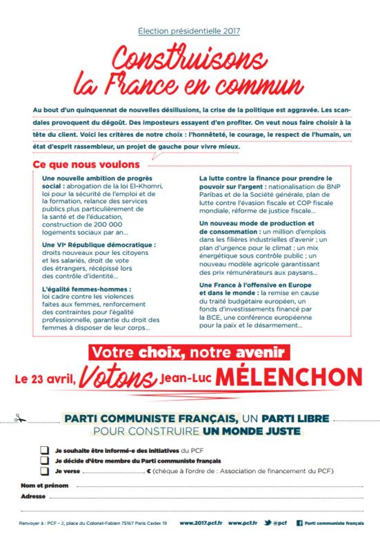 Ensemble, pour une majorité de progrès (tract du PCF appelant à voter Jean-Luc Mélenchon)