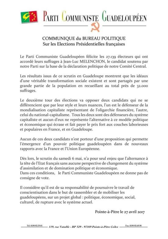 Les communistes guadeloupéens (PCG) ne donneront aucune consigne de vote