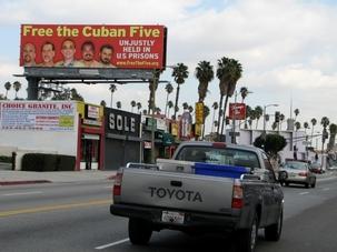 Un panneau géant en faveur des Cinq en plein cœur de Miami