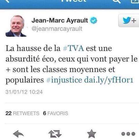Le tweet indigné de JM Ayrault alors député d'opposition (2012)