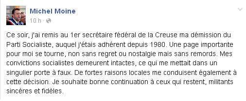 Le maire d'Aubusson Michel Moine démissionne du Parti socialiste