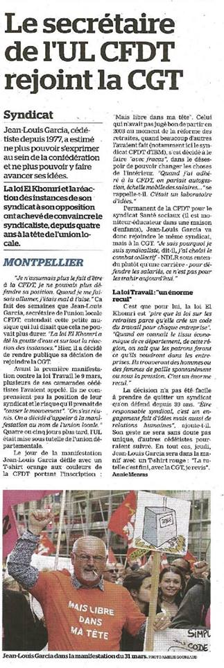Montpellier, le secrétaire de l'UL CFDT a rejoint la CGT