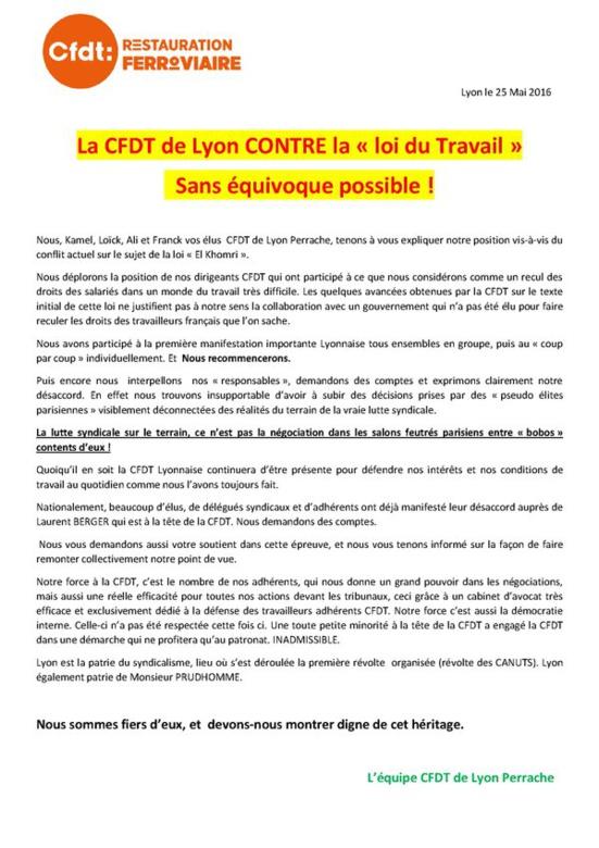Une section de la CFDT (de Lyon-Perrache) s'oppose à la « loi du Travail »