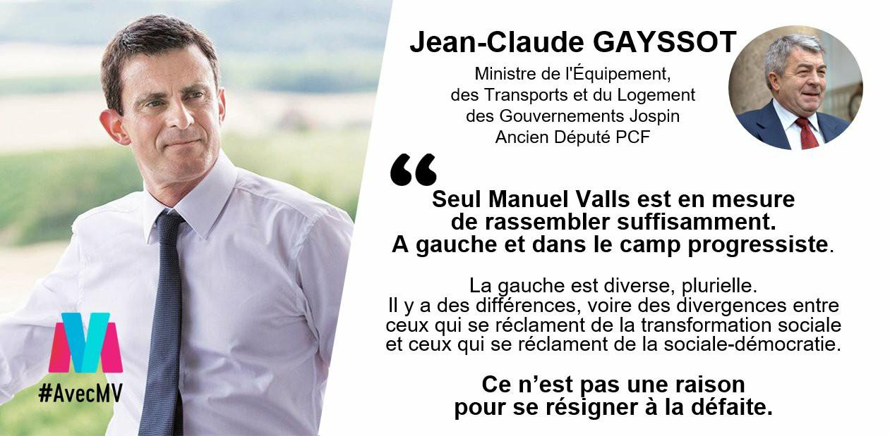 Et soudain, le traître Jean-Claude Gayssot refait surface et soutient Manuel Valls