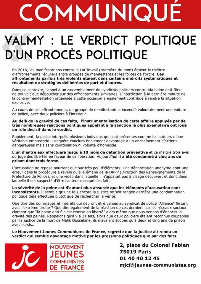 Valmy : Le verdict politique d'un procès politique !