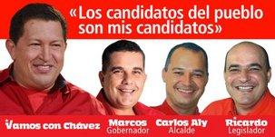 A droite d'Hugo Chavez, mon ami Marcos Diaz Orellana, candidat au poste de gouverneur dans l'Etat de Mérida