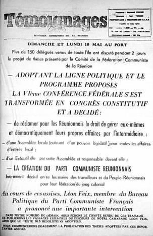 50 ans de la création du Parti Communiste Réunionnais