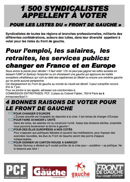 1 500 syndicalistes appellent à voter : Pour les listes du Font de Gauche