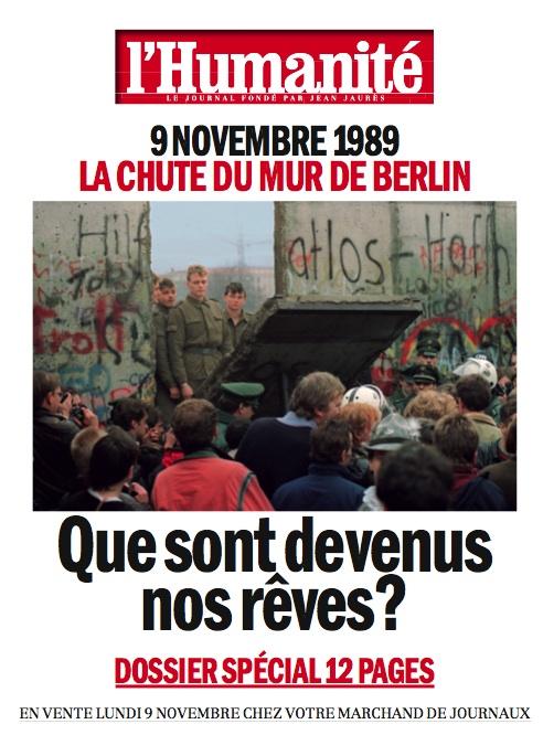 Demain numéro spécial de l'Humanité sur les 20 ans de la chute du mur de Berlin