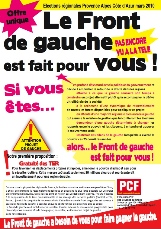 Elections régionales PACA : Le Front de gauche est fait pour vous !