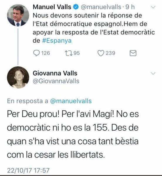 """""""Ce qui n'est pas démocratique c'est l'article 155 !"""" Giovanna Valls recadre son triste frère Manuel Valls"""