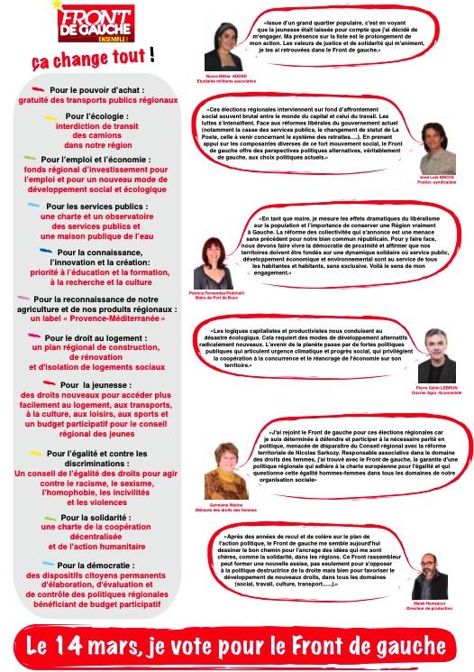Elections régionales 2010 : La circulaire de la liste du Front de Gauche