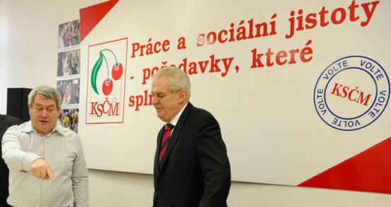 Le Parti communiste (KSČM) salue la réélection de Miloš Zeman en République Tchèque