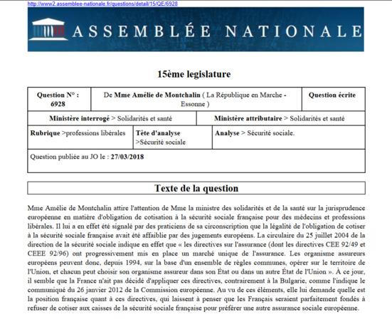 Amélie de Montchalin (LREM) remet en cause le monopole de la sécurité sociale