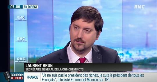 """Laurent Brun (CGT-Cheminots) sur RMC: """"Le Président a raconté quelques carabistouilles"""""""