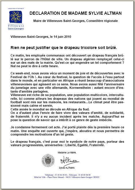 Déclaration de Sylvie Altman, Maire PCF de Villeneuve Saint Georges