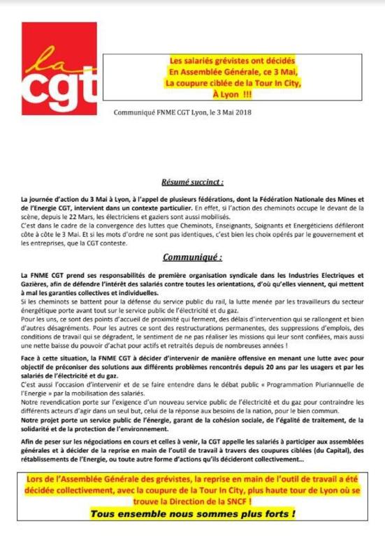 """La CGT énergie coupe l'électricité dans la """"Tour Incity"""" de Lyon, siège de la SNCF"""