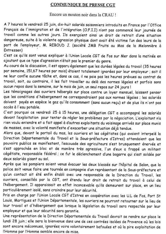 Ouvriers Marocains agressés