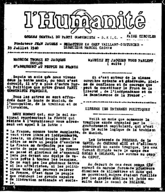 """""""Jamais un grand peuple comme le nôtre ne sera un peuple d'esclaves"""" : L'appel du PCF du 10 juillet 1940"""