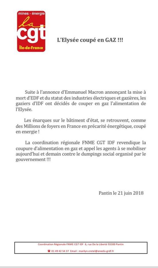 La CGT coupe le gaz à Emmanuel Marcon
