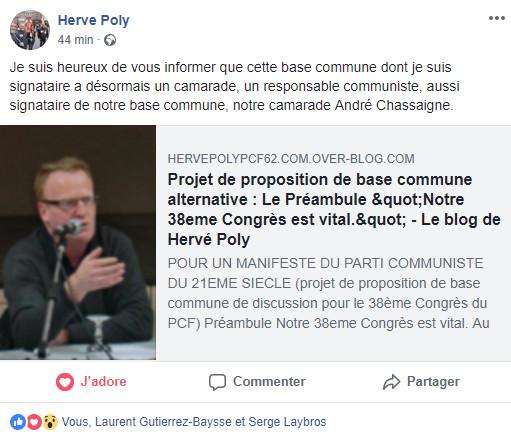 André Chassaigne signataire d'un texte alternatif pour le 38ème congrès ?