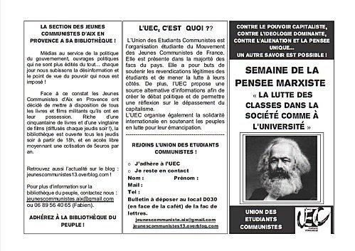 """Semaine de la pensée Marxiste : """"La lutte des classes dans la société comme à l'université"""""""