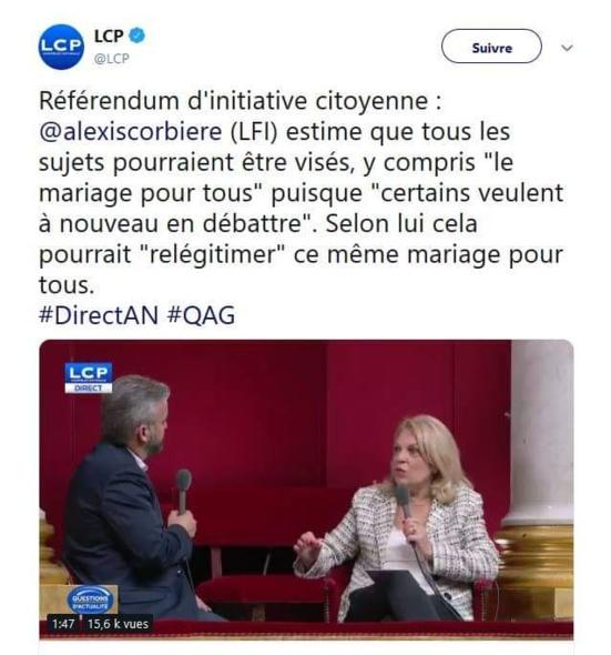 Alexis Corbière (LFI) s'en prend au mariage pour tous pour justifier le Référendum d'Initiative Citoyenne