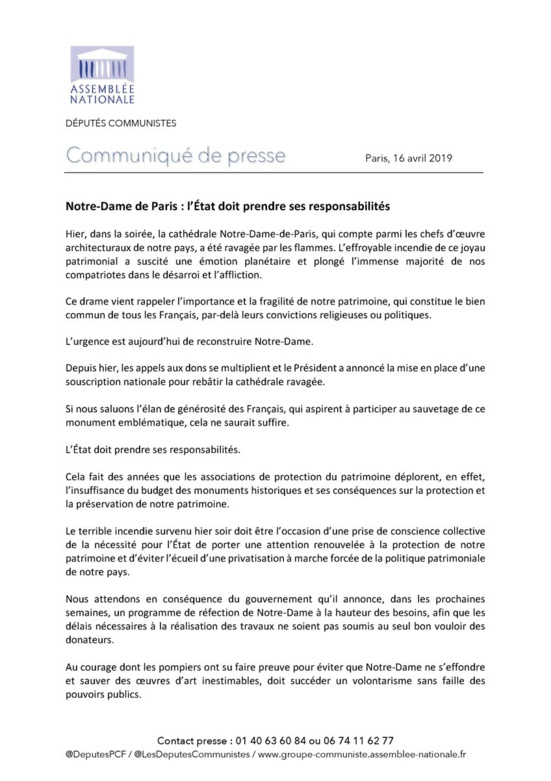 Notre-Dame-De-Paris : L'Etat doit prendre ses responsabilités (Les Député.e.s communistes)