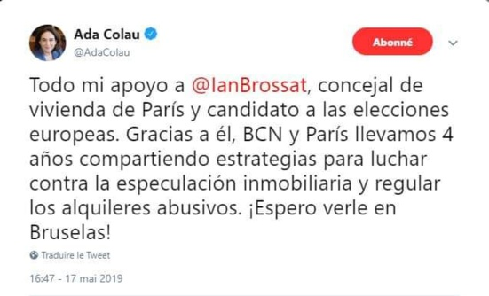 La maire de Barcelone, Ada Colau, appelle à voter Ian Brossat
