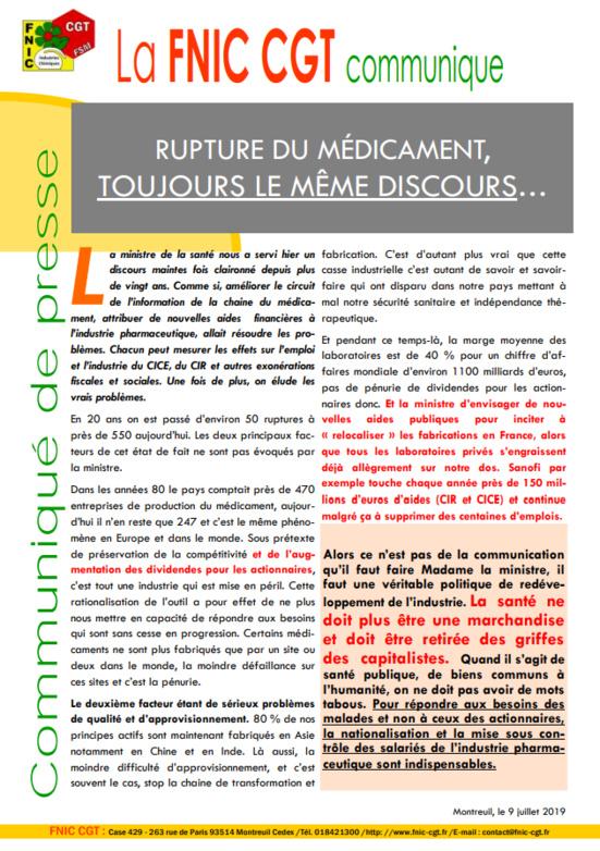 """Pénurie de médicaments : La FNIC-CGT appelle à sortir la santé """"des griffes des capitalistes"""""""