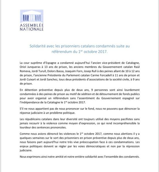 23 député.e.s français réaffirment leurs soutiens aux prisonniers politiques catalans