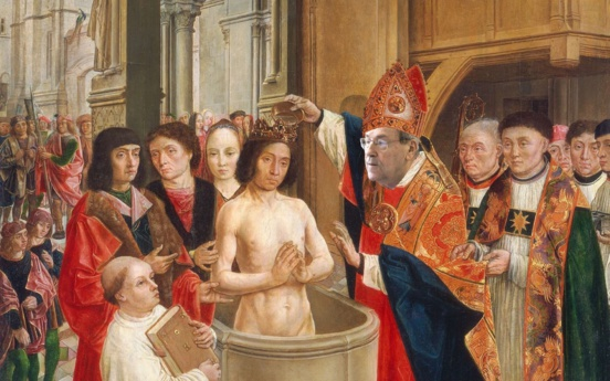 Caricature : Lucien Sève baptisant Clovis