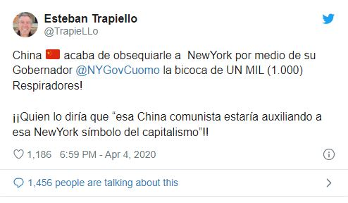 Un pays socialiste au secours du symbole du capitalisme! La Chine a fait don de 1000 respirateurs à New York
