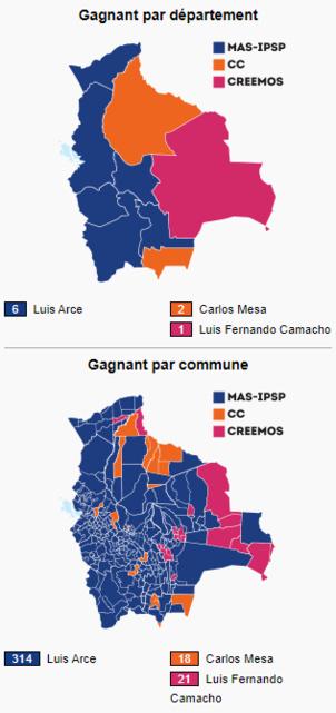 Le MAS IPSP a remporté les élections boliviennes avec 55,07%