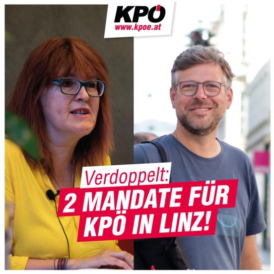 Le Parti Communiste d'Autriche (KPÖ) double sa représentation à Linz, capitale régionale de l'Oberösterreich