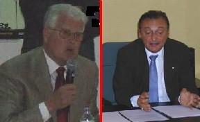 Georges Thorrand (opposition de Gauche) et Pierre Carlin (Maire de droite)