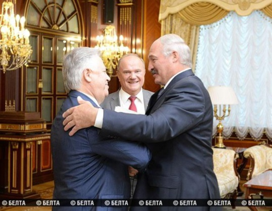 Rencontre entre Petro Simonenko (KPU), Guennadi Ziouganov (KPRF) et le Président du Belarus, Alexandre Loukachenko