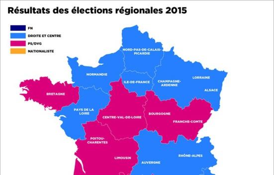 Résultats dans les régions où il n'y aura plus d'élus communistes