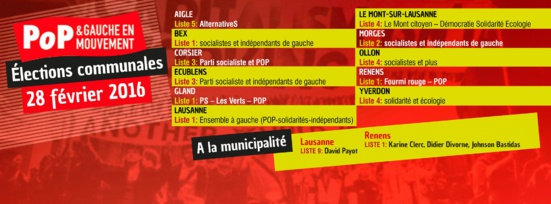Le Parti Ouvrier et Populaire Vaudois (Suisse) toujours présent dans les Conseils communaux