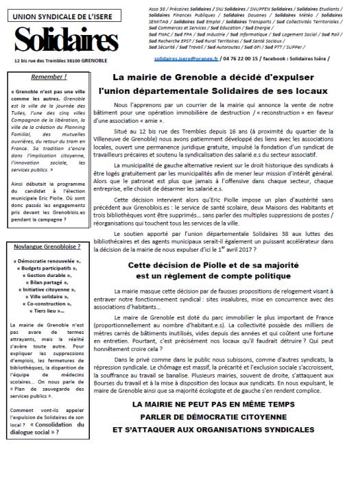 La mairie (EELV-PG/France insoumise) de Grenoble a décidé d'expulser l'UD Solidaires de ses locaux
