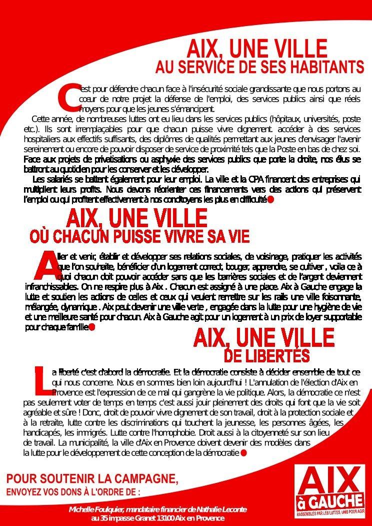 Municipales: Aix à Gauche sur le pont