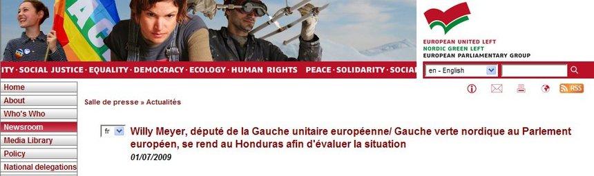 Willy Meyer, député du PCE (GUE/NGL) au Parlement européen, se rend au Honduras afin d'évaluer la situation