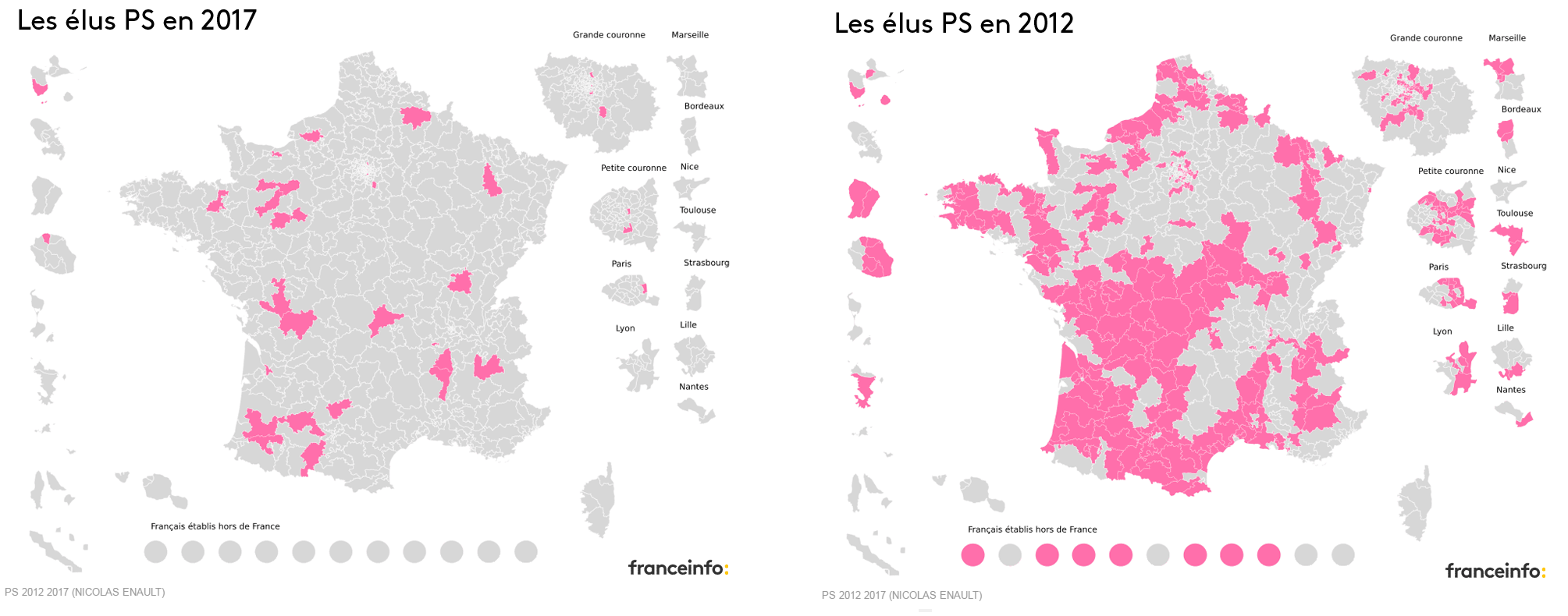 Le PS disparaît de la carte avec 29 circonscriptions, contre 280 en 2012