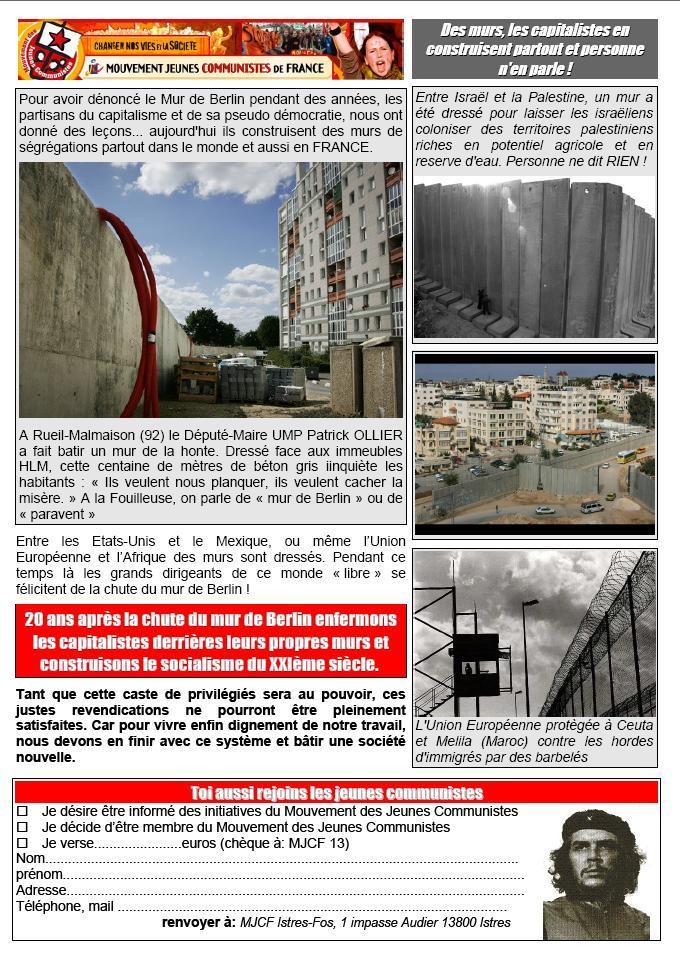 Le 9 novembre 1989 le mur de Berlin tombait ; Le 9 novembre 2009 enfermons les capitalistes derrière des murs !