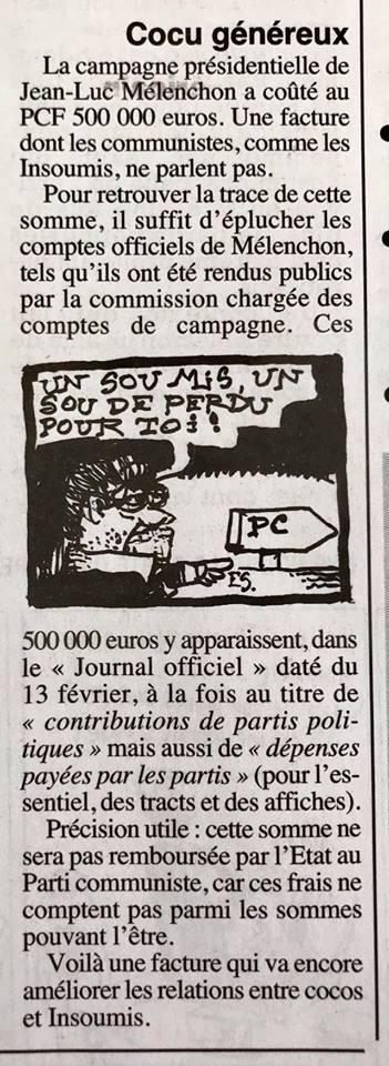 Les 500.000€ du PCF pour la campagne de Jean-Luc Mélenchon seront-ils remboursés ?