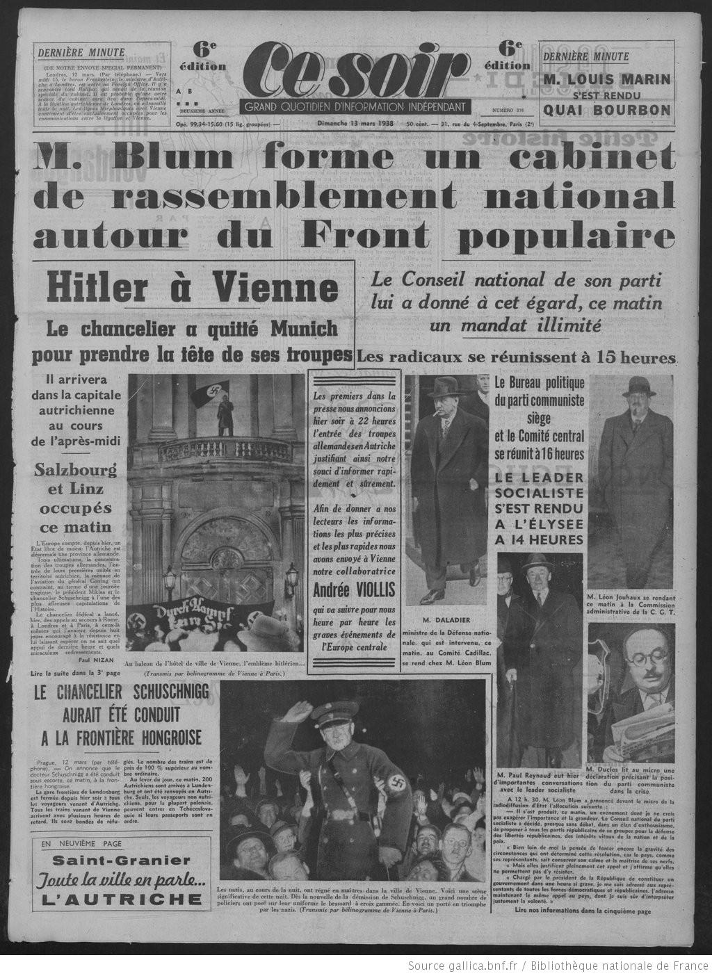 """Anschluss : Quand le journal communiste """"Ce Soir"""" dénonçait la lâcheté et la complicité honteuse de Paris et Londres"""