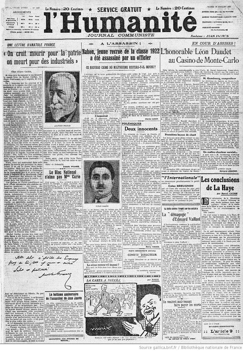 """""""On croit mourir pour la patrie ; on meurt pour des industriels"""" (Anatole France in L'Humanité du 18 Juillet 1922)"""