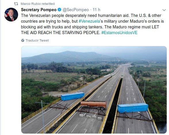 """Diosdado Cabello à Marco Rubio: """"Le pont de Las Tienditas n'a jamais été mis en service"""""""